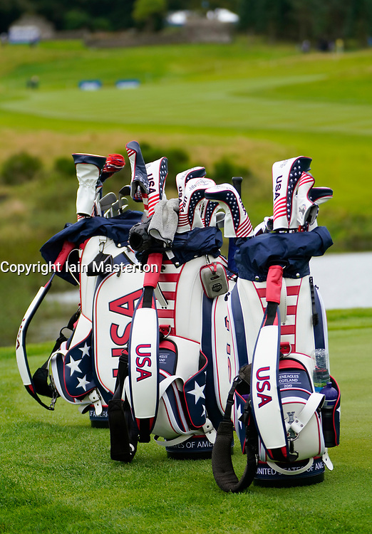 Auchterarder, Scotland, UK. 12 September 2019. Final practice day at 2019 Solheim Cup on Centenary Course at Gleneagles. Pictured; Team USA golf bags lined up. Iain Masterton/Alamy Live News