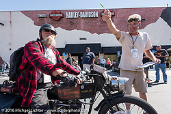 Chopper Dave Monson of California on his 1914 Harley-Davidson as he arrives at the hosted lunch stop at Temecula Harley-Davidson on the last day of the Motorcycle Cannonball Race of the Century. Stage-15 ride from Palm Desert, CA to Carlsbad, CA. USA. Sunday September 25, 2016. Photography ©2016 Michael Lichter.