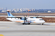 Israel, Ben-Gurion international Airport Arkia Airlines ATR 72 Propellor aeroplane ready for takeoff