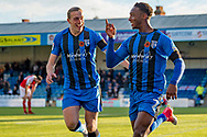 Gillingham FC forward Brandon Hanlan (7) scores a goal (1-0) and celebrates with team mate Gillingham FC forward Tom Eaves (9) during the EFL Sky Bet League 1 match between Gillingham and Fleetwood Town at the MEMS Priestfield Stadium, Gillingham, England on 3 November 2018.<br /> Photo Martin Cole