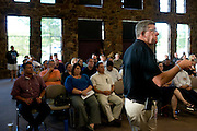 Keller ISD Superintendent Dr. Randy Reid speaks during a town hall meeting hosted by Keller ISD to discuss adding a $175 million bond election to the November ballot in Keller, Texas on August 11, 2014. (Cooper Neill for The Texas Tribune)