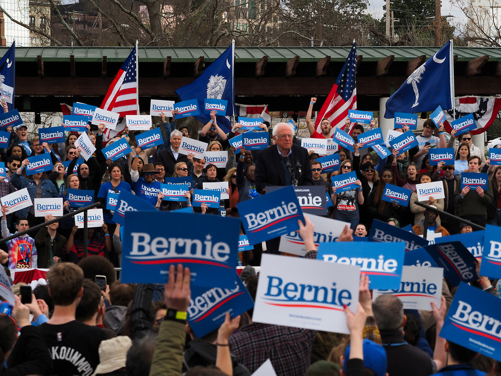 Presidential candidate Bernie Sanders addresses his supporters at the final South Carolina rally before the February 29 primary vote.
