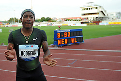 June 4, 2018 - Prague, Czech Republic - Michael Rodgers of USA wins the men's 100m during the Josef Odlozil Memorial Athletic Classic Meeting EA Premium in Prague in the Czech Republic. Michael Rodgers celebrates victory with time 9,92 s , the best performance of the year. The Josef Odlozil Memorial is an annual track and field meeting which takes place in June at Stadion Juliska in Prague. (Credit Image: © Slavek Ruta via ZUMA Wire)