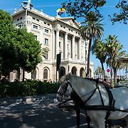 Horseride near port of Barcelona and headquarters of the Third General Subinspectorate of the Army, Barcelona, Spain