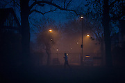 A jogger runs in a park, with a foggy residential street in the background.