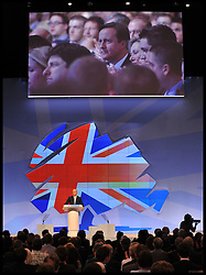 Foreign Secretary William Hague during his speech to Conservative Party Conference in Manchester,watched by the Prime Minister, Sunday October 2, 2011. Photo By Andrew Parsons / i-Images.