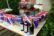 A drinks table laid in patriotic colours for a garden party in a stately home. East Portlemouth, Devon, UK
