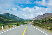 Straight bonne bay road on the east arm of the Unesco world heritage sight, Gros Mourne National Park, Newfoundland, Canada