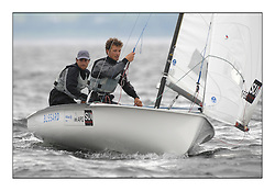 470 Class European Championships Largs - Day 1.Racing in grey and variable conditions on the Clyde..SUI16, Yannick BRAUCHLI, Romuald HAUSSER, Segel Club Enge