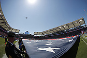 General view of the National Anthem as the Los Angeles Chargers prepare for action during the 2018 regular season week 1 NFL football game against the Kansas City Chiefs on Sunday, Sept. 9, 2018 in Carson, Calif. The Chiefs won the game 38-28. (©Paul Anthony Spinelli)