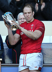 Wales' Alyn Wyn Jones with the Doddie Weir Cup during the Guinness Six Nations match at BT Murrayfield, Edinburgh.