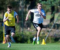 08/01/15 <br /> CELTIC TRAINING <br /> SALOBRE GOLF RESORT - GRAN CANARIA <br /> Celtic duo Callum McGregor (left) and Stefan Johansen get put through their paces in training