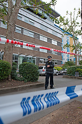©Licensed to London News Pictures 26/09/2020  <br /> Norbury, UK. Police have cordoned off an area in front of Andersons Heights in Norbury, South London where the gunman who shot Sgt Ratana was arrested for having ammunition. A murder investigation has been launched by police after the death of custody police sergeant Matt Ratana at the Croydon Custody Centre in South London yesterday.Photo credit:Grant Falvey/LNP