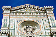 Roase window and facade of the Gothic-Renaissance Duomo of Florence,  Basilica of Saint Mary of the Flower; Firenza ( Basilica di Santa Maria del Fiore ).  Built between 1293 & 1436. Italy .<br /> <br /> Visit our ITALY PHOTO COLLECTION for more   photos of Italy to download or buy as prints https://funkystock.photoshelter.com/gallery-collection/2b-Pictures-Images-of-Italy-Photos-of-Italian-Historic-Landmark-Sites/C0000qxA2zGFjd_k<br /> .<br /> <br /> Visit our MEDIEVAL PHOTO COLLECTIONS for more   photos  to download or buy as prints https://funkystock.photoshelter.com/gallery-collection/Medieval-Middle-Ages-Historic-Places-Arcaeological-Sites-Pictures-Images-of/C0000B5ZA54_WD0s