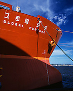 Global Fortune Bulk Carrier tied up in Newcastle Harbour, Australia