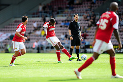 Bristol City's Jay Emmanuel-Thomas scores a free kick.  - Photo mandatory by-line: Dougie Allward/JMP - Tel: Mobile: 07966 386802 11/08/2013 - SPORT - FOOTBALL - Sixfields Stadium - Sixfields Stadium -  Coventry V Bristol City - Sky Bet League One