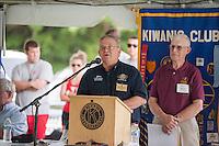 Lt. Governor for Division 8 John Falconer speaks to the crowd during the 70th Anniversary celebration of the Kiwanis Pool in St. Johnsbury Vermont.  Karen Bobotas / for Kiwanis International
