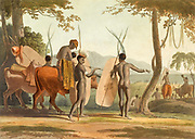 Kaffers [Kaffirs] on a March hand colored plate from the collection of  ' African scenery and animals ' by Daniell, Samuel, 1775-1811 and Daniell, William, 1769-1837 published 1804