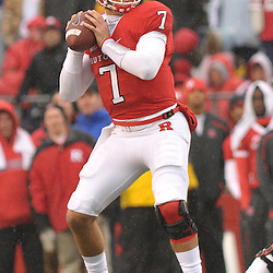 Dec 5, 2009; Piscataway, NJ, USA; Rutgers quarterback Tom Savage (7) looks for open receivers during first half NCAA Big East college football action between Rutgers and West Virginia at Rutgers Stadium.