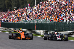 August 27, 2017 - Spa, Belgium - 02 VANDOORNE Stoffel from Belgium of McLaren Honda ahead of 20 MAGNUSSEN Kevin from Denmark of Haas F1 team during the Formula One Belgian Grand Prix at Circuit de Spa-Francorchamps on August 27, 2017 in Spa, Belgium. (Credit Image: © Xavier Bonilla/NurPhoto via ZUMA Press)