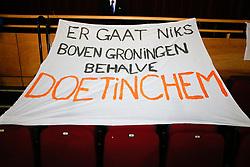 20180506 NED: Eredivisie Abiant Lycurgus - Seesing Personeel Orion, Groningen<br />Spandoek fans Seesing Personeel Orion <br />©2018-FotoHoogendoorn.nl