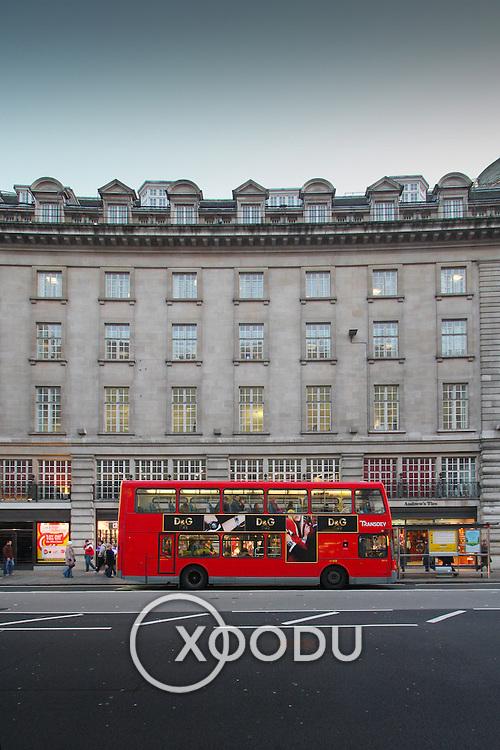 Red London bus on Regent Street, London, England (December 2007)