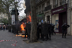 September 15, 2016 - Paris, France - A molotov cocktail exploding during police riot in Paris on September 15, 2016 . Parisians took out the streets this Thursday to make a new demonstration over the so controversial Labor Law reform in France. Thousands gathered at Place de la Bastille for a peaceful walk to Place de la République, but as is usual, an anarchist group clashed in a confrontation with police that lasted all the way. (Credit Image: © David Cordova/NurPhoto via ZUMA Press)