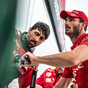 Leg 6 to Auckland, day 10 on board MAPFRE, Faces, Louis Sinclair and Guillermo Altadill. 16 February, 2018.