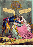 The first Kiss this Ten Years! - or - the meeting of Britannia & Citizen François.  A tall thin, French officer kissing a fat, richly dressed, seated Britannia.  His hat and sword lay on the carpet.  Britannia's shield and trident rest on the wall behind her chair. Above them are portraits of George III and Napoleon, facing each other.  Creator James Gillray, 1756-1815, engraver.  Published 1803.