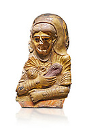 Ancient Egyptian Roman female mummy mask, limestone, Roman Period, 2nd Cent AD, Hawara,  Egyptian Museum, Turin. white background<br /> <br /> This is a remarkable gilt cartonnage with inlaid cystal eyes . The woman wears a Roman style hardo half covered by a veil, a himation, fringed cloak, yied to her breat, snake shaped bracelets and a necklace of pink flowers, all of which are connected to the cult of Isis. .<br /> <br /> If you prefer to buy from our ALAMY PHOTO LIBRARY  Collection visit : https://www.alamy.com/portfolio/paul-williams-funkystock/ancient-egyptian-art-artefacts.html  . Type -   Turin   - into the LOWER SEARCH WITHIN GALLERY box. Refine search by adding background colour, subject etc<br /> <br /> Visit our ANCIENT WORLD PHOTO COLLECTIONS for more photos to download or buy as wall art prints https://funkystock.photoshelter.com/gallery-collection/Ancient-World-Art-Antiquities-Historic-Sites-Pictures-Images-of/C00006u26yqSkDOM