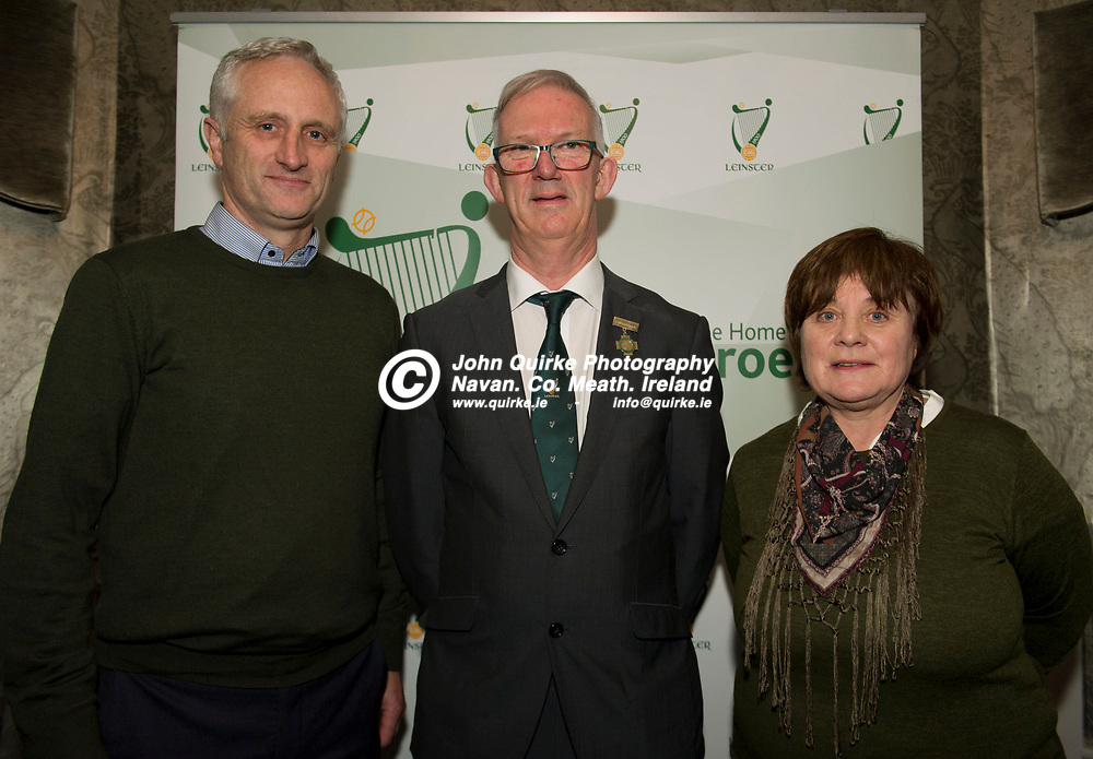 25-01-19. Leinster GAA Annual Convention 2018 at the Knightsbrook Hotel, Trim.<br /> Cathoirleach Pat Teehan pictured with Coolderry Chairman, Philip Ryan and Secretary, Mary Hanley.<br /> Photo: John Quirke / www.quirke.ie<br /> ©John Quirke Photography, Unit 17, Blackcastle Shopping Cte. Navan. Co. Meath. 046-9079044 / 087-2579454.