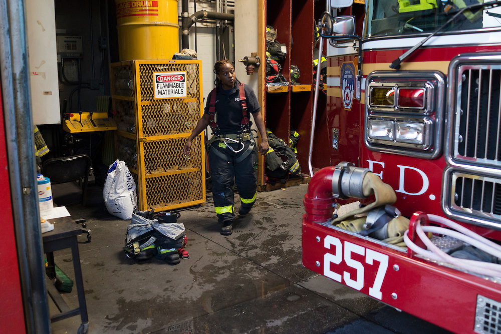 Firefighter Melissa Bennett at the quarters of Engine 257, 1361 Rockaway Parkway, Brooklyn, NY on Tuesday, Oct. 6, 2015.<br /> <br /> Andrew Hinderaker for The Wall Street Journal<br /> NYFDNY