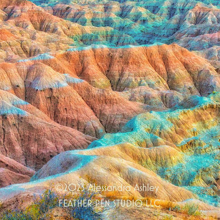 "Badlands National Park, South Dakota, in ""golden hour"" sunlight."