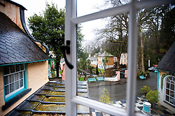 View of Portmeirion from Salutation 2, one of the holiday apartments within the village, Gwynedd, North Wales.