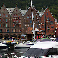Europe, Norway, Bergen. Bryggen, a UNESCO World Heritage Site.