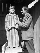 Power, James - sculptor. Special of statue of St. Bartholomew and Our Lady..Pictured at studio on Berkeley Rd..14/04/1958.. opposite St Joseph's Church, on Berkeley Road, in Phibsborough...