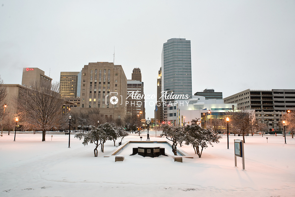 A view looking east toward downtown Oklahoma City, OK. on Saturday, January 30, 2010 after a winter storm brought ice and snow to the area.  (Photo by Alonzo J. Adams)