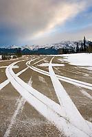 Tire tracks near Abraham Lake Alberta Canada