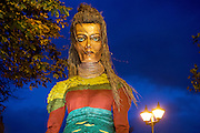25/10/2015  Macnas parade on the streets of Galway.<br />  'The Shadow Lighter' featured the new Macnas character of Danu – a 15 ft high wild woman, the shadow lighter mistress of old stories, magic and medicine. Alongside her walked Danu's spirit animal, The Wolf of Danu, a beautiful, strong and fierce wolf, circling around Danu to protect her.Photo:Andrew Downes, xposure