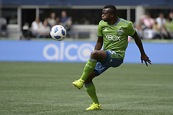 May 26, 2018 - Seattle, Washington, U.S - MLS Soccer 2018: The Sounders NOUHOU (5) tries to control a pass as Real Salt Lake visits the Seattle Sounders in a MLS match at Century Link Field in Seattle, WA. (Credit Image: © Jeff Halstead via ZUMA Wire)