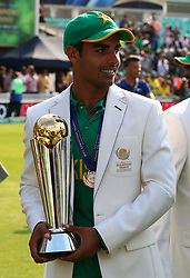 June 18, 2017 - London, United Kingdom - Shadb Khan of Pakistan with Trophy.during the ICC Champions Trophy Final match between India and Pakistan at The Oval in London on June 18, 2017  (Credit Image: © Kieran Galvin/NurPhoto via ZUMA Press)