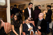 NANDANA SEN; V.S. NAIPAUL; AATISH TASEER; ADAM LOW, Faroukh Dhondy;V.S. NAIPAUL;, Aatish Taseer  book launch party for his new book Stranger To History. Travel book asks what it means to be a Muslim in the 21st century. Hosted by Gillon Aitken. Kensington, London. 30 March 2009