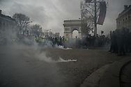 The Champs Elysees during the clashes.  More than 125000 gathered in Paris for the Gilets Jaune (Yellow vest) protest. Soon the protest turned violent an protesters clashed with the police, tear gas and flash bombs were fired, many injured and arrested by the police. Paris December 6th 2018. Federico Scoppa