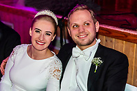 Norwegian bride and groom at their wedding reception, Trysil, Norway.