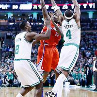 03 February 2013: Boston Celtics shooting guard Jason Terry (4) and Boston Celtics power forward Jeff Green (8) defend on Los Angeles Clippers shooting guard Jamal Crawford (11) during the Boston Celtics 106-104 victory over the Los Angeles Clippers at the TD Garden, Boston, Massachusetts, USA.
