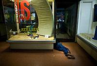 homeless cuban man sleeps inside a building