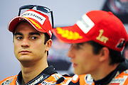 April 19-21, 2013- Dani Pedrosa (SPA), Repsol Honda Team listens to teammate Marc Marquez during the post race press conference.