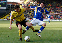 Photo: Richard Lane/Sportsbeat Images.<br />Watford v Cardiff City. Coca Cola Championship. 26/12/2007. <br />Watford's Tommy Smith is challenged by Cardiff's Joe Ledley(rt).
