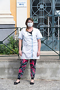 municipal nurse during the Covid 19 crisis and lockdown France Limoux April 2020