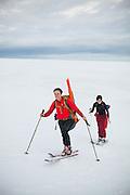 Mylène Jacquemart (front) and Michelle Blade skin up Nordenskioldfjellet, Svalbard.